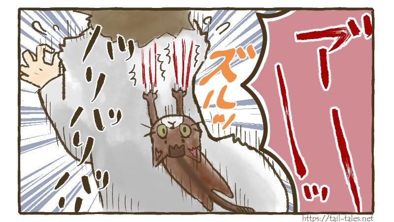 ねこ漫画テールテイルズ:ずり落ちて背中バリバリ