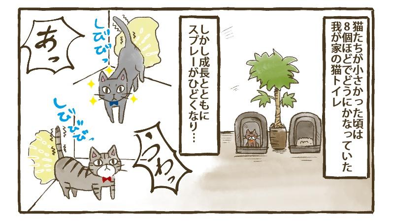 猫たちが小さい頃は少なめのトイレでもなんとかなっていたが、成長とともにスプレーがひどくなり・・・